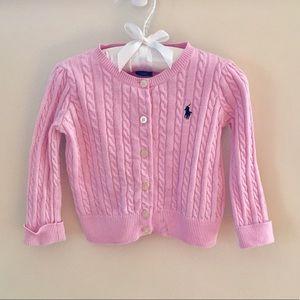 🆕 Ralph Lauren Pink Cardigan Sweater 18 Months